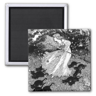 Young witch and black cats 2 inch square magnet
