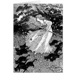 Young witch and black cats card