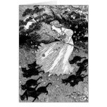 Young witch and black cats greeting card