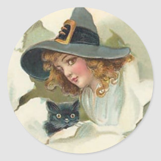Young Witch & Black Cat - Halloween Sticker