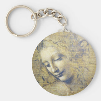 young woman 2 basic round button keychain