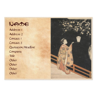 Young Woman Admiring Plum Blossoms at Night art Business Card Template