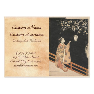 Young Woman Admiring Plum Blossoms at Night art Business Card Templates