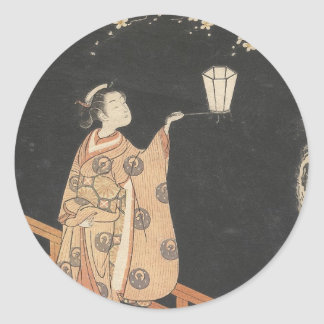 Young Woman Admiring Plum Blossoms at Night art Classic Round Sticker