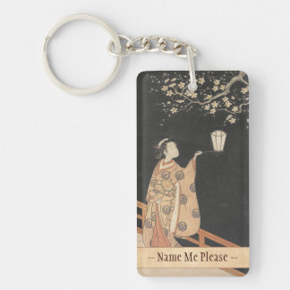Young Woman Admiring Plum Blossoms at Night art Acrylic Key Chain