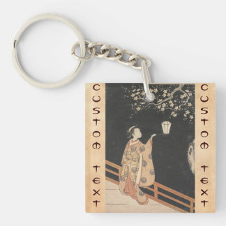 Young Woman Admiring Plum Blossoms at Night art Square Acrylic Key Chains