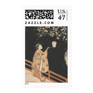 Young Woman Admiring Plum Blossoms at Night art Postage Stamp