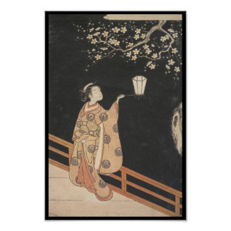Young Woman Admiring Plum Blossoms at Night art Poster