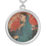 Young Woman and Ibis, Edgar Degas Round Pendant Necklace