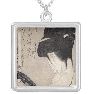 Young woman applying make-up, c.1795-96 silver plated necklace