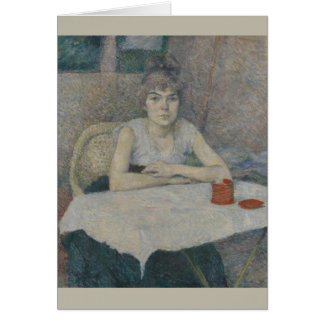 Young Woman at a Table by Henri Toulouse-Lautrec Card