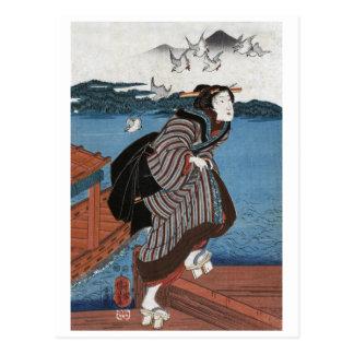 Young woman at Sanbashi, Utagawa Kuniyoshi Postcard