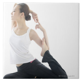 young woman beauty,yoga 2 large square tile