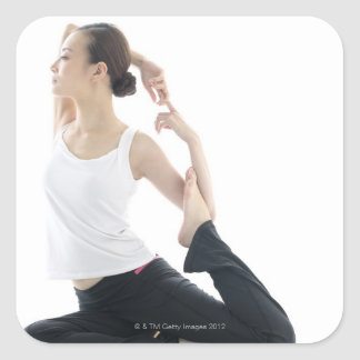 young woman beauty,yoga 2 square sticker