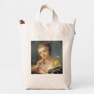 Young Woman Bouquet of Roses by Francois Boucher Duck Canvas Bag