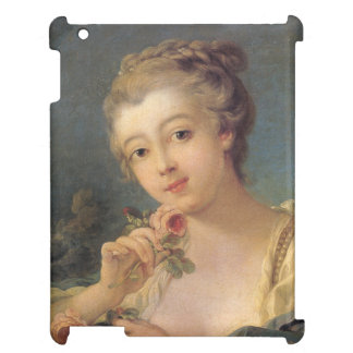 Young Woman Bouquet of Roses by Francois Boucher iPad Case