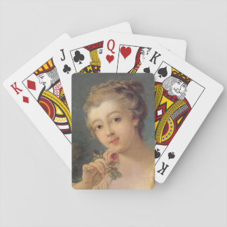 Young Woman Bouquet of Roses by Francois Boucher Playing Cards