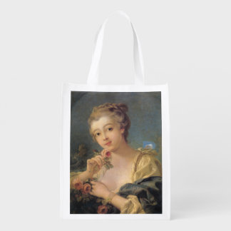 Young Woman Bouquet of Roses by Francois Boucher Reusable Grocery Bag