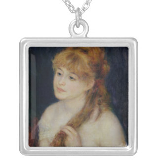 Young Woman Braiding her Hair, 1876 Square Pendant Necklace