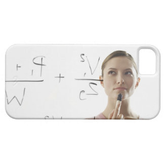 Young woman calculating equations on glass iPhone SE/5/5s case