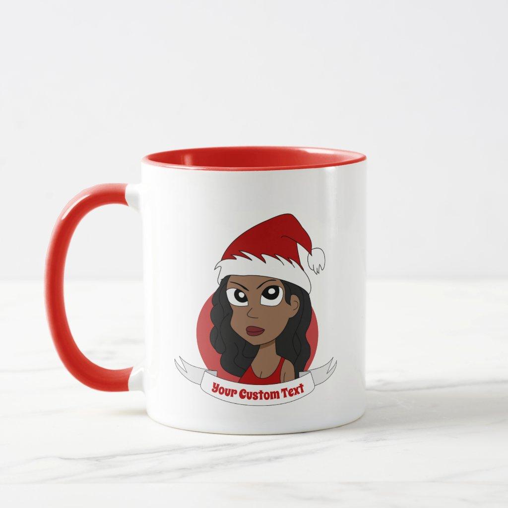 Young woman Christmas cartoon Mug