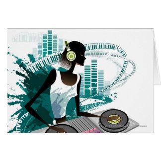 Young woman Dj Using Turntable in Nightclub Greeting Card