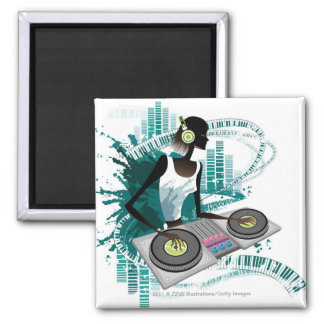 Young woman Dj Using Turntable in Nightclub Magnet