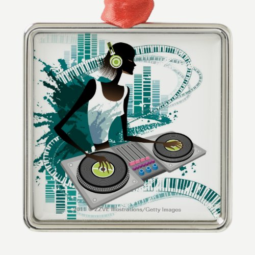 Young woman Dj Using Turntable in Nightclub Metal Ornament