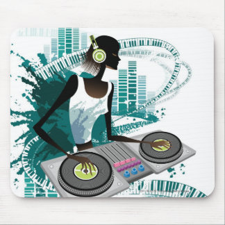 Young woman Dj Using Turntable in Nightclub Mouse Pad
