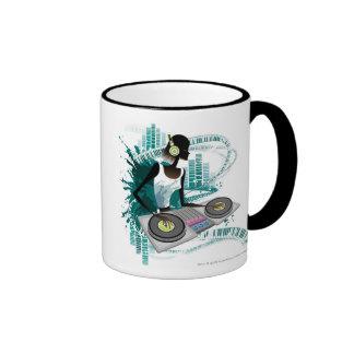Young woman Dj Using Turntable in Nightclub Ringer Coffee Mug
