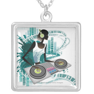 Young woman Dj Using Turntable in Nightclub Square Pendant Necklace