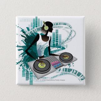 Young woman Dj Using Turntable in Nightclub Pinback Button