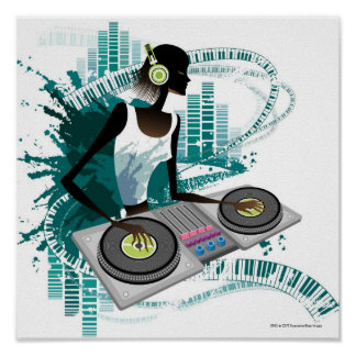 Young woman Dj Using Turntable in Nightclub Poster