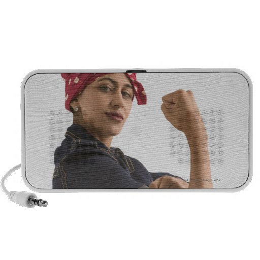 Young woman dressed as ?Rosie the Riveter? Notebook Speakers
