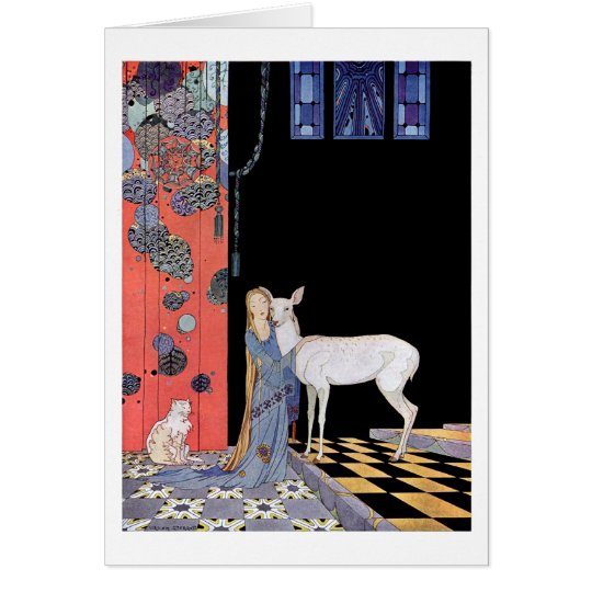 Young woman embracing a doe card