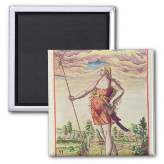 Young Woman from a Neighbouring Tribe to the 2 Inch Square Magnet