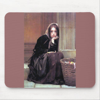 Young Woman Girl in Black Painting Mouse Pad