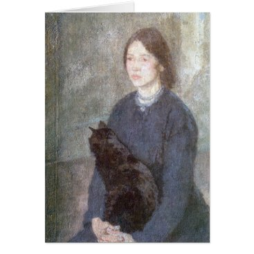 Art Themed Young Woman Holding a Black Cat - Gwen John Card