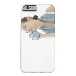 young woman holding water bottle to face barely there iPhone 6 case