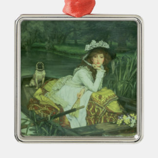 Young Woman in a Boat, or Reflections, c.1870 (oil Metal Ornament