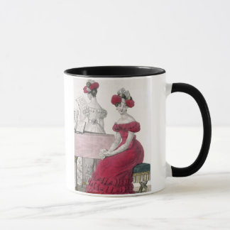 Young Woman in a Crepe Evening Dress with an Elabo Mug