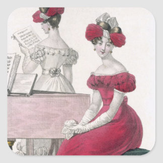 Young Woman in a Crepe Evening Dress with an Elabo Square Sticker