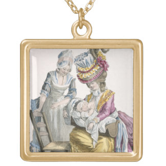 Young Woman in a Dress 'a la Levite' Breastfeeding Gold Plated Necklace