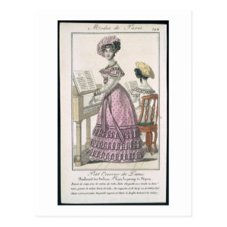 Young Woman in a Pink Organdie Dress Trimmed with Postcard