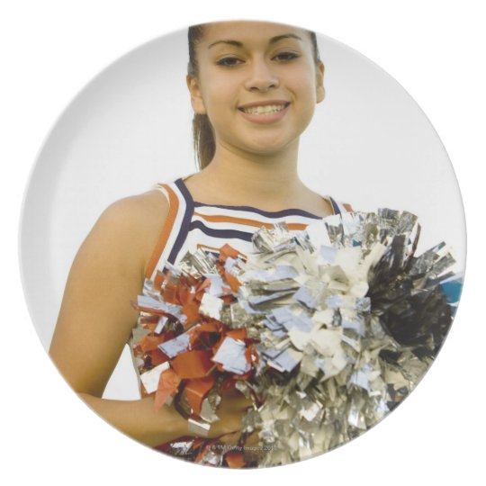 Young woman in cheerleading uniform melamine plate