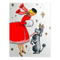 Young woman in red dress with her dog, Christmas Postcard