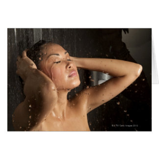 Young woman in shower card
