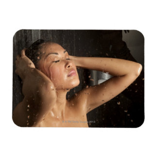 Young woman in shower magnet