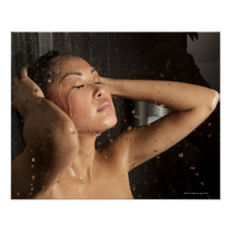 Young woman in shower poster
