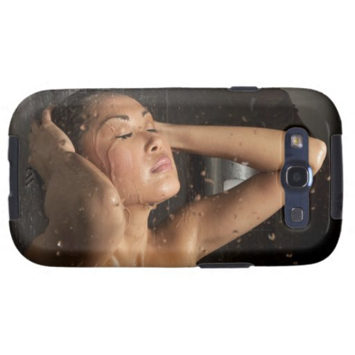 Young woman in shower samsung galaxy s3 covers